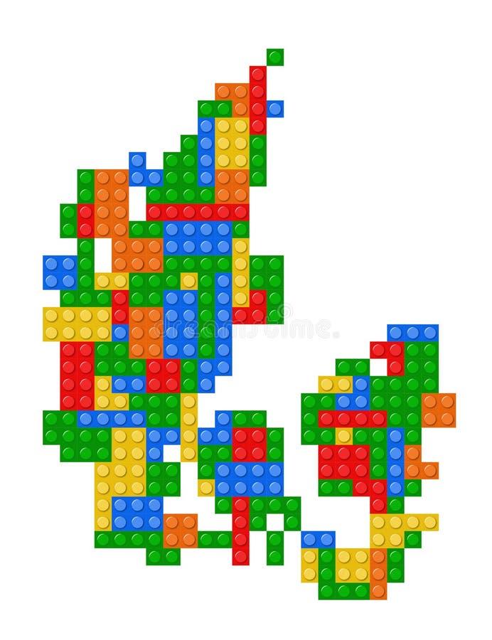 丹麦的Lego映射 皇族释放例证