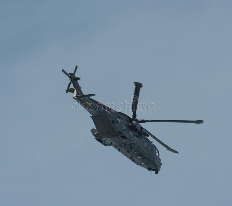 丹麦空军在天空的默林EH101直升机 库存照片