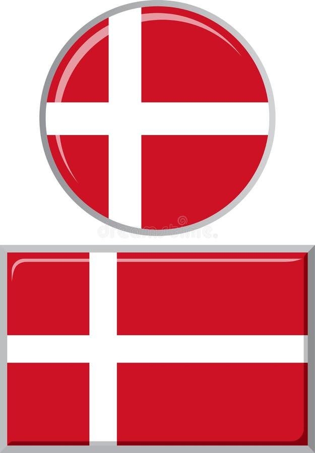 丹麦语在周围和方形的象旗子 向量 库存例证