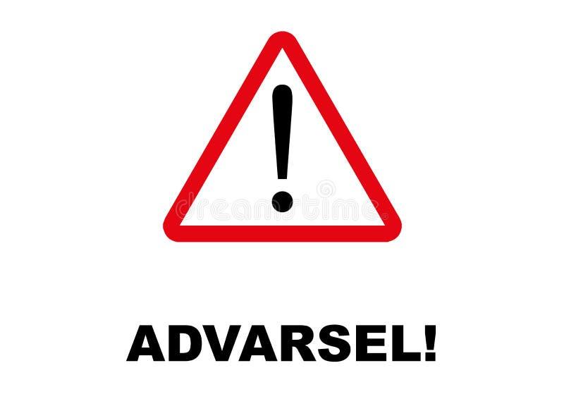 丹麦语语言写的警告的路标 皇族释放例证