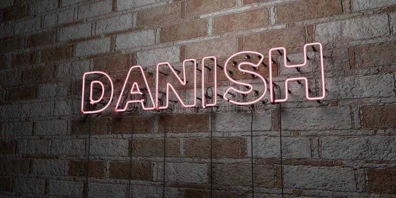 丹麦语-在石制品墙壁上的发光的霓虹灯广告- 3D回报了皇族自由储蓄例证 向量例证