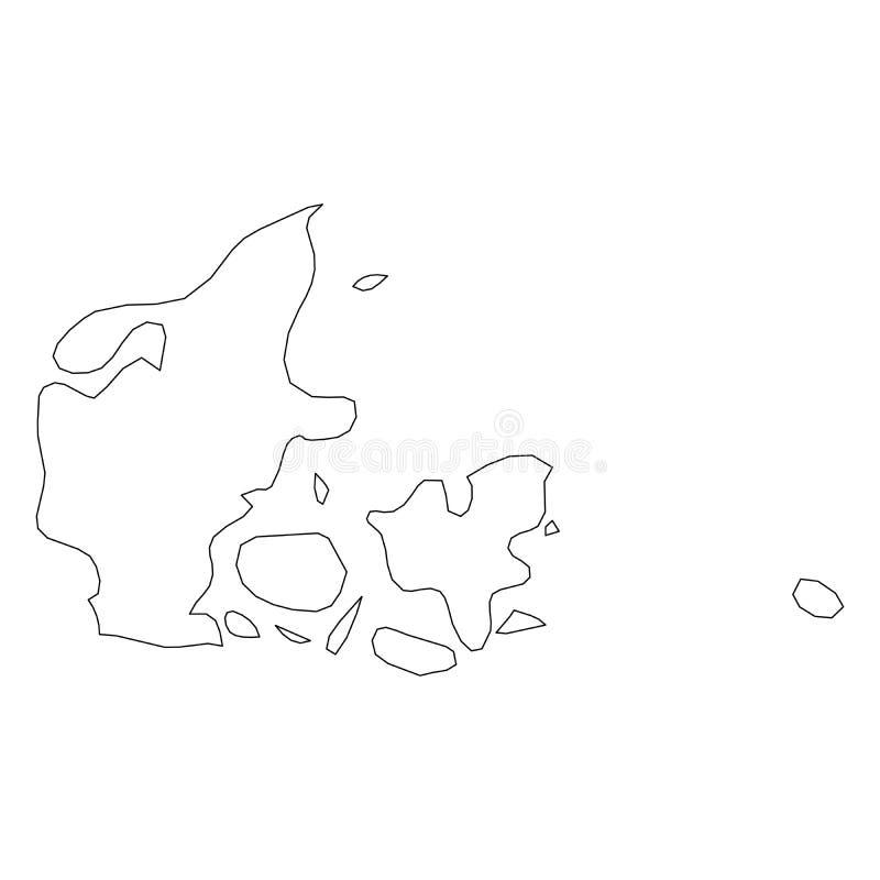 丹麦-国家区域坚实黑概述边界地图  简单的平的传染媒介例证 库存例证