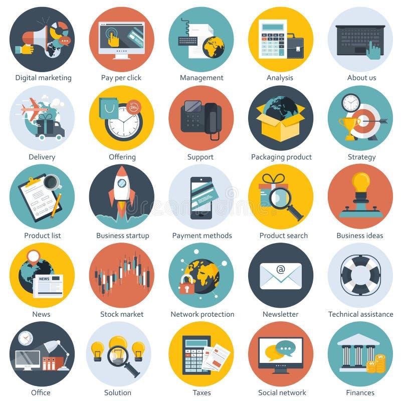 为事务、管理、技术、财务和电子商务设置的五颜六色的象 网站和流动应用程序的平的对象 皇族释放例证