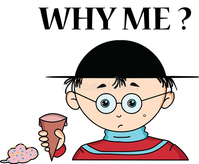 为什么我一个男孩的动画片有哀伤的表示的 向量例证