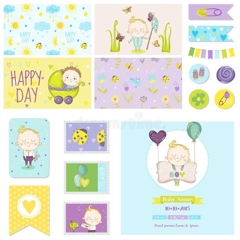 为党装饰设置的婴儿送礼会小男孩,婴儿送礼会 向量例证