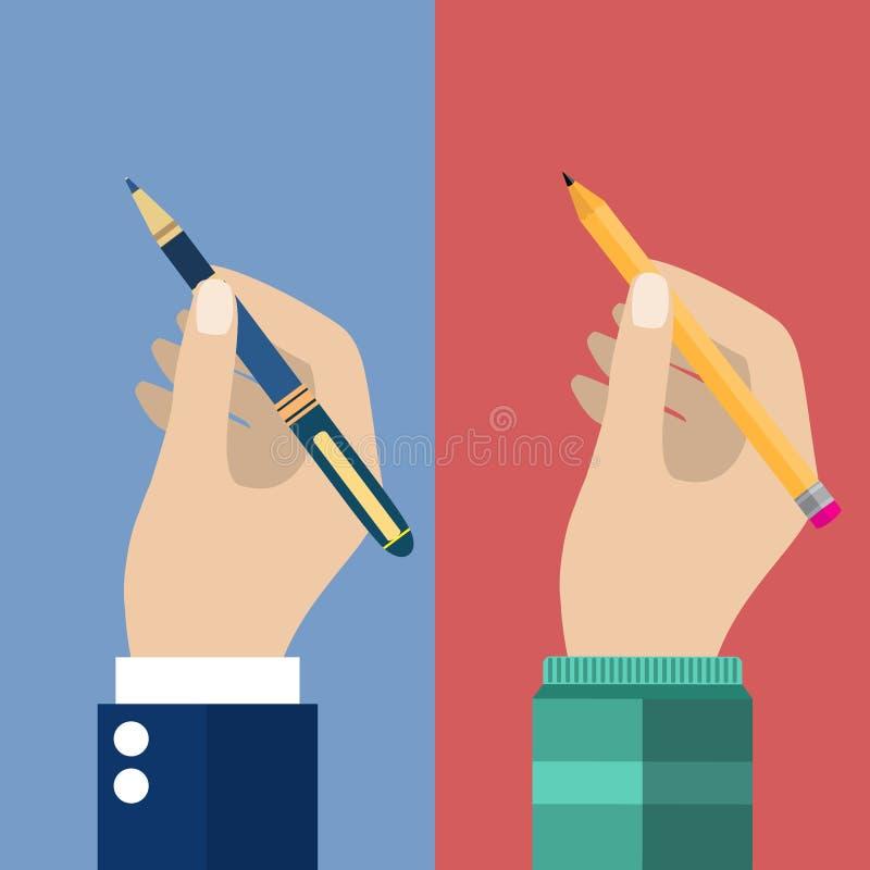 为写和笔在手中设置的铅笔 皇族释放例证