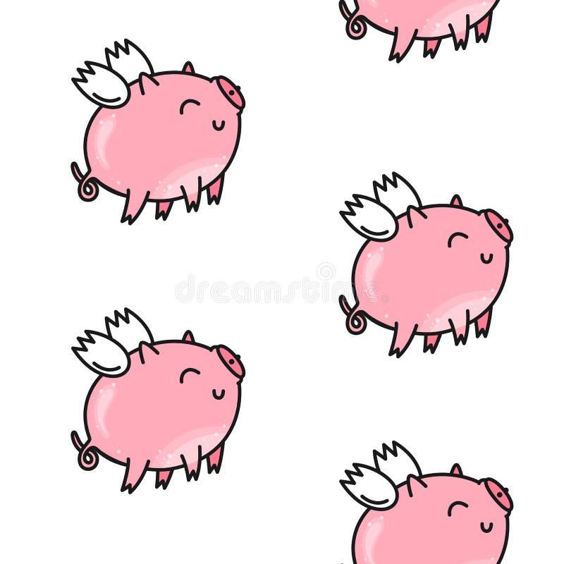 为华伦泰` s天导航无缝的样式 逗人喜爱的猪粉红色 乱画样式,动画片背景 向量例证
