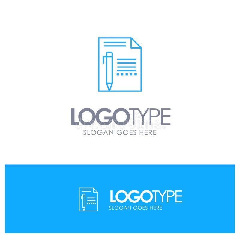 为口号提供,编辑,呼叫,裱糊,书写,写与地方的蓝色概述商标 库存例证