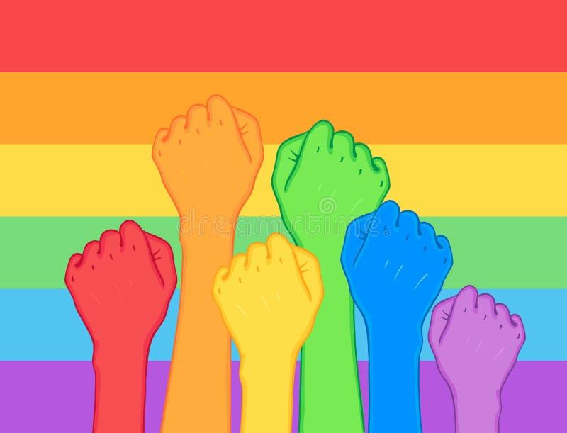 为同性恋权利的战斗 (拳头)被举的人的手  彩虹col 向量例证