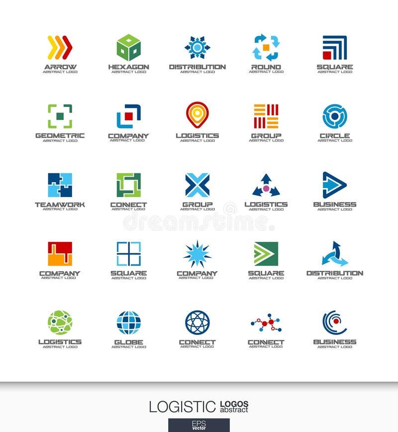 为商业公司设置的抽象商标 出口、运输、交付和发行概念 后勤,运输 皇族释放例证