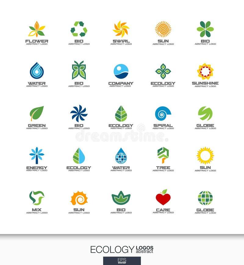 为商业公司设置的抽象商标 生态植物,生物自然,树,花概念 环境,绿色,回收 向量例证