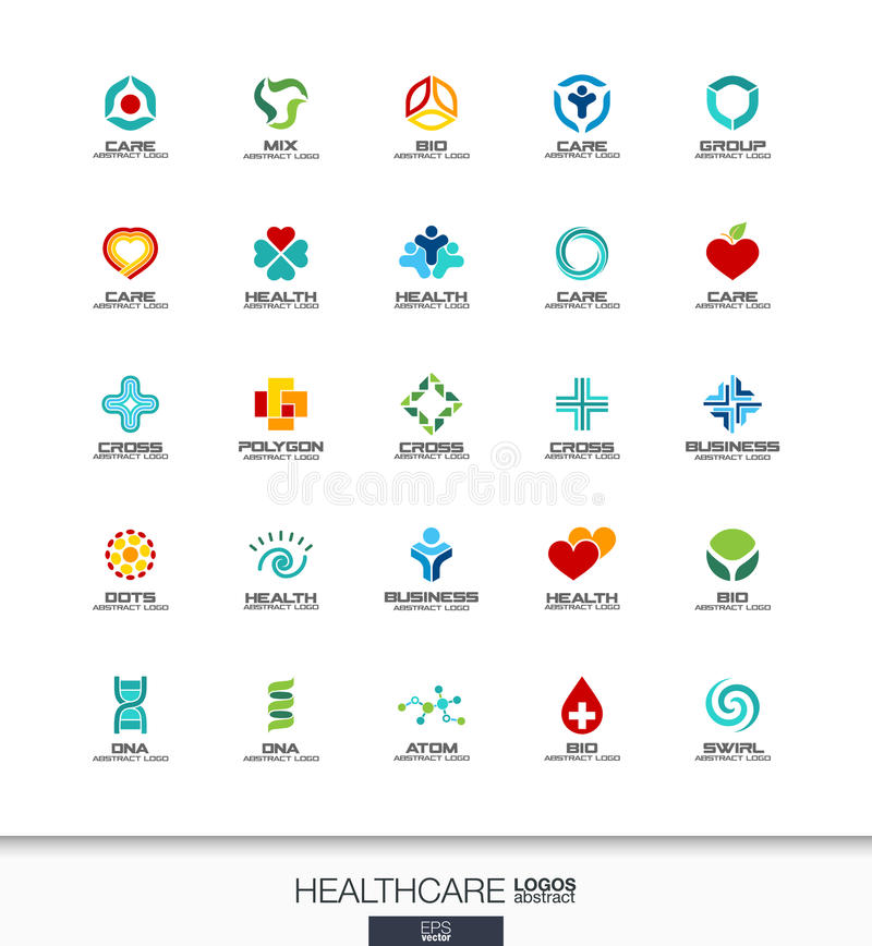 为商业公司设置的抽象商标 医疗保健、医学和药房发怒概念 健康,关心,医疗 向量例证