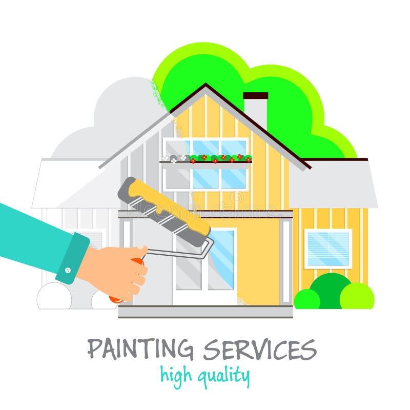 绘画为商标服务 有路辗的手在黄色油漆绘一个美丽的房子 在绘画前后的议院 库存例证
