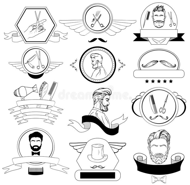 为商标设置的理发店,标签,徽章 皇族释放例证