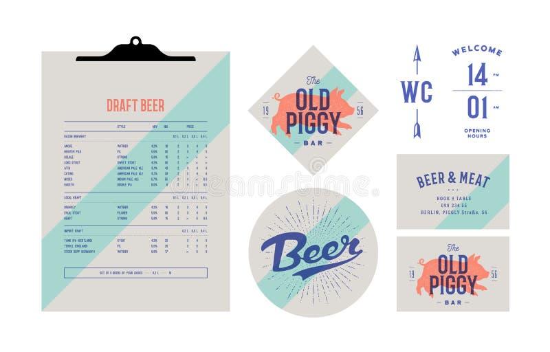 为啤酒酒吧设置的品牌身份,客栈 守旧派葡萄酒标签 向量例证