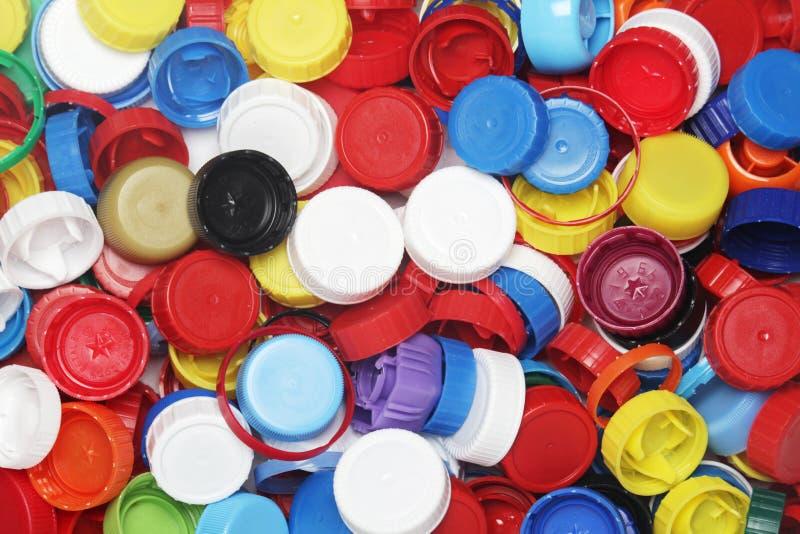 为回收收集的塑料瓶盖 库存图片