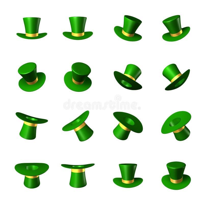 为圣帕特里克` s天导航例证-有金丝带圆筒的绿色帽子 皇族释放例证