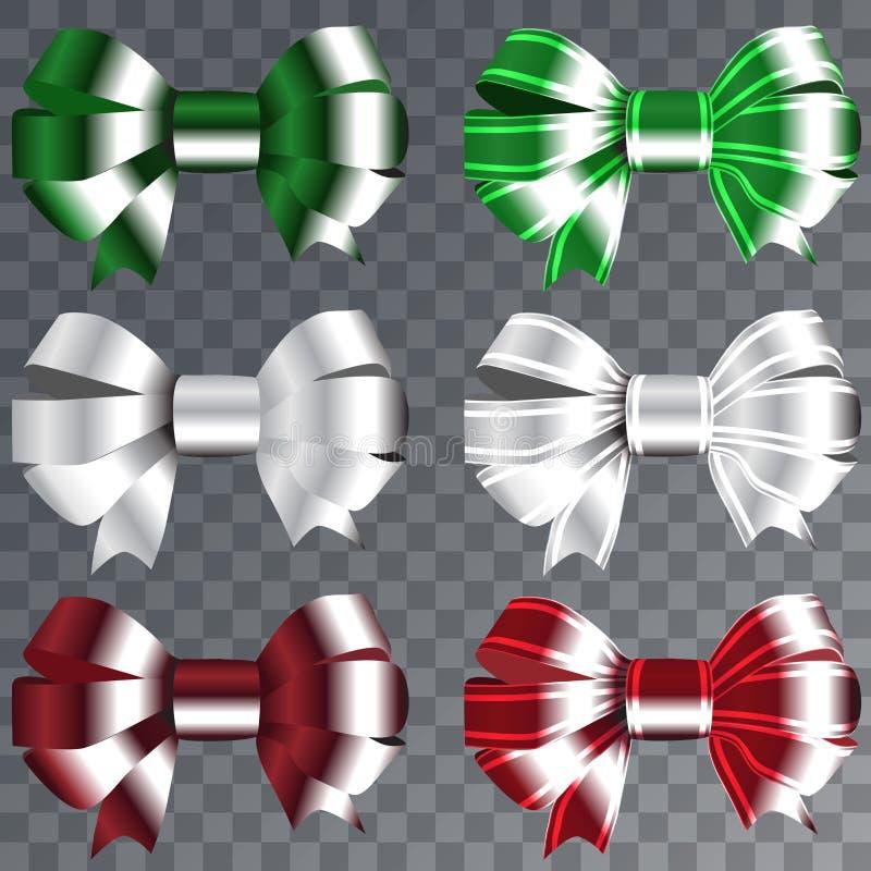 为圣诞节礼物设置的丝带 与丝带传染媒介例证的红色礼物弓 库存例证