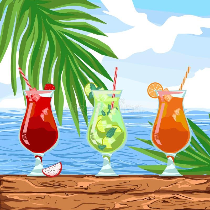 为在一个海岛上的晴朗的党在餐馆或俱乐部痛饮在海洋附近 向量例证
