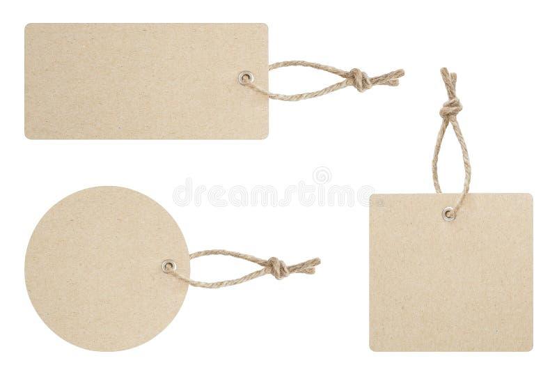 为在产品的吊栓的空白的标记展示在白色背景的价格或折扣孤立的与裁减路线 免版税库存图片