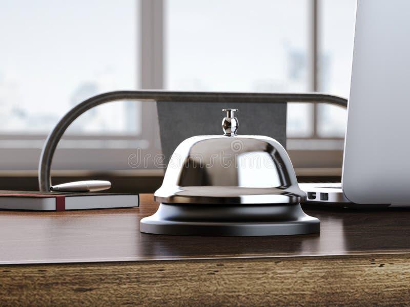 为在办公室桌上的响铃服务 3d翻译 库存例证