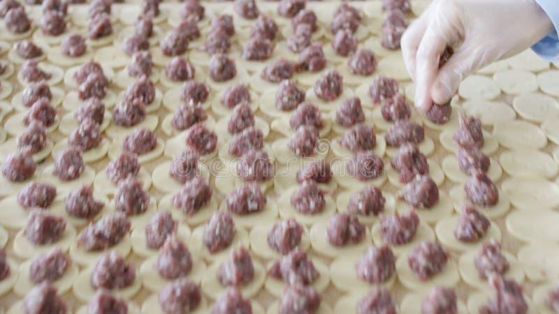 为在把加料碎肉放的球手套的妇女手关闭在面团上平的圈子  场面 塑造饺子在 图库摄影
