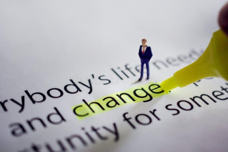 为在生活或企业概念的新的挑战改变 微型 图库摄影