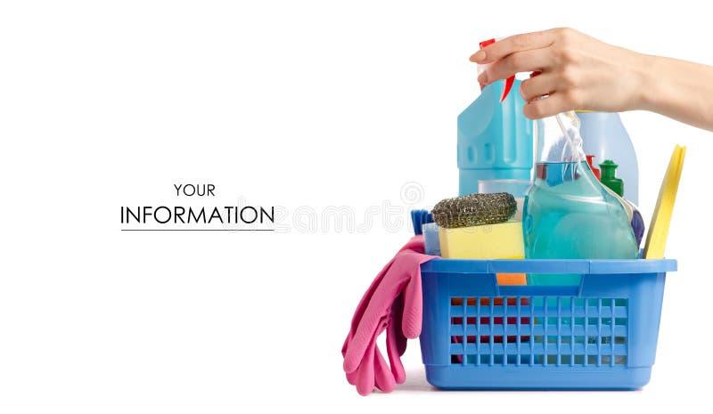为在篮子手样式的清洗的洁净设置 图库摄影