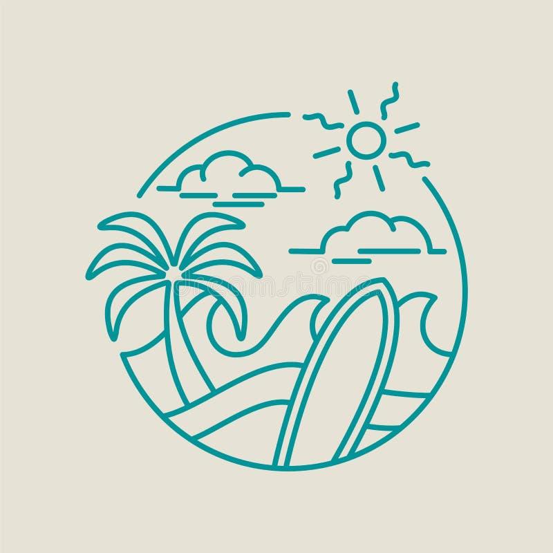 为在线艺术的暑假使海浪象靠岸 皇族释放例证