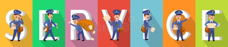 为在颜色的海报服务与运转的载体 库存例证