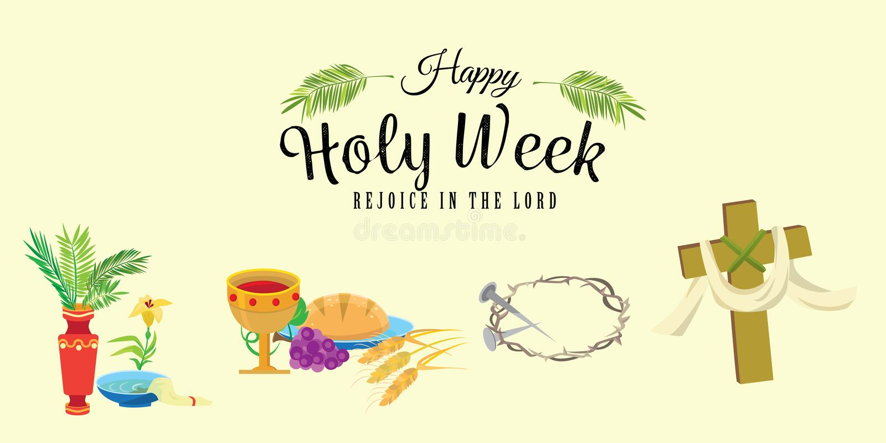 为基督教圣周在复活节前,耶稣被借的和棕榈或者激情星期天,基督受难日在十字架上钉死和他的设置 库存例证