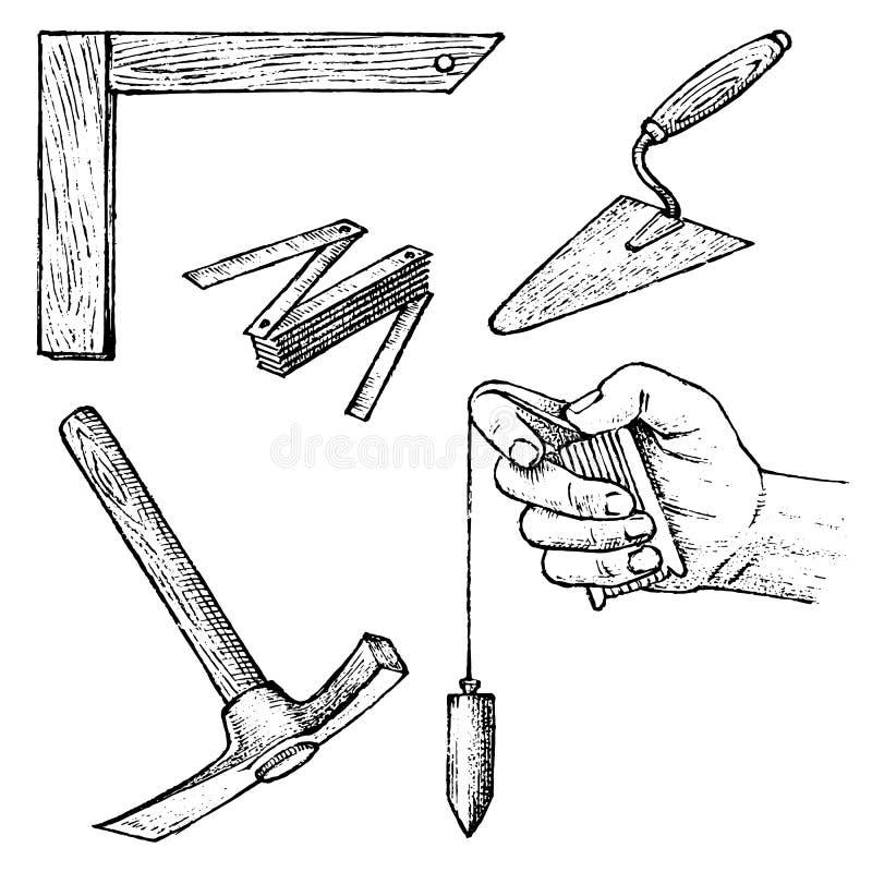 为大厦建筑和修理的工作工具  小铲,锤子,测量设备 手拉的被刻记的葡萄酒 库存例证