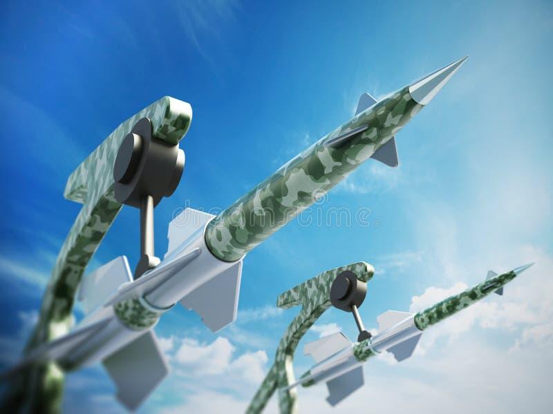 为天空瞄准的绿色导弹 3d例证 皇族释放例证