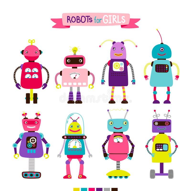 为女孩设置的动画片机器人 向量例证