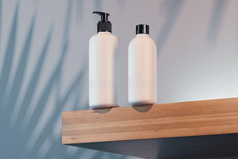 为奶油设置的化妆瓶,化妆水 塑料空白的容器 3d翻译 库存例证