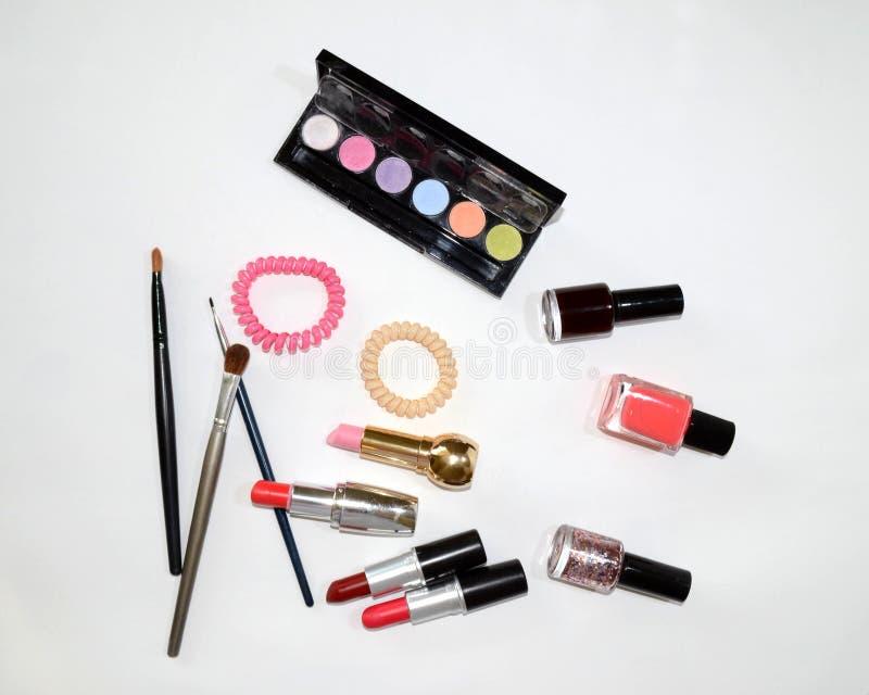 为妇女设置的化妆用品 库存照片