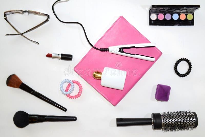 为妇女设置的化妆用品 免版税库存图片