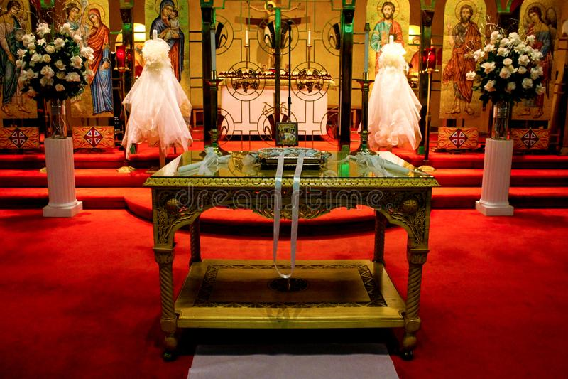 为婚礼准备的希腊东正教 免版税图库摄影