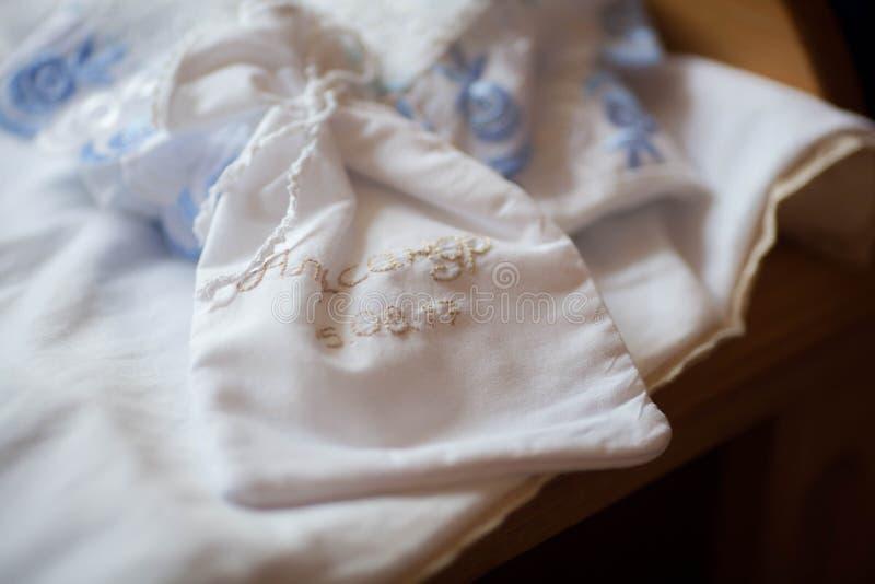 为孩子的洗礼设置的洗礼仪式 免版税库存图片
