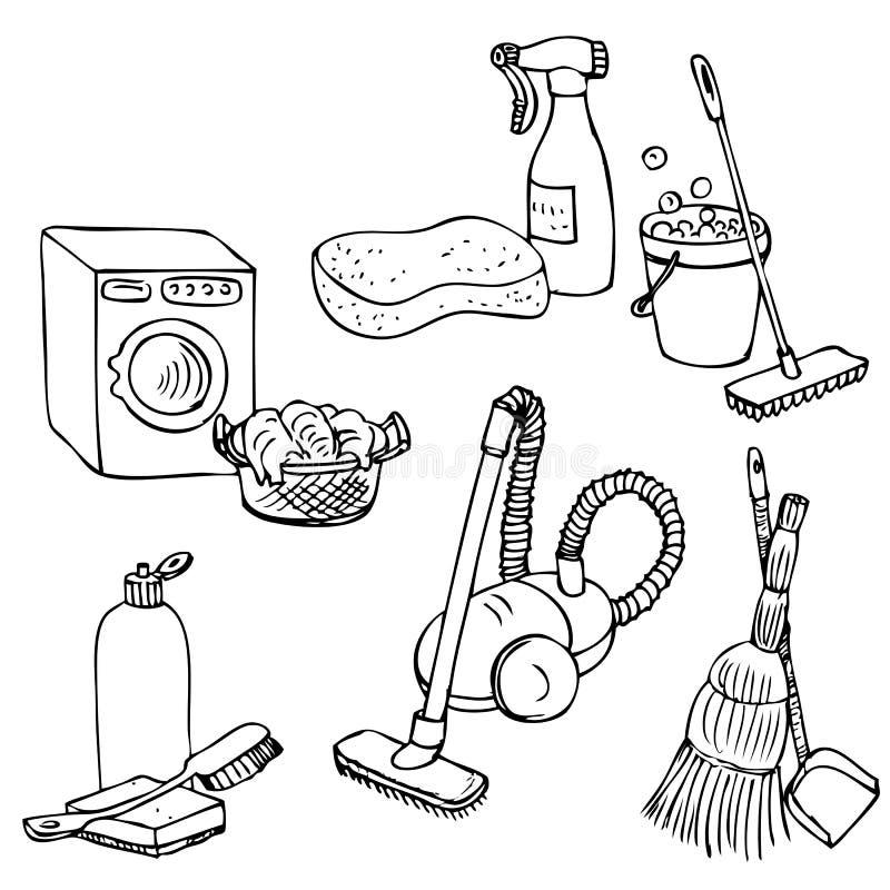 为家庭清洁设置的乱画 向量例证
