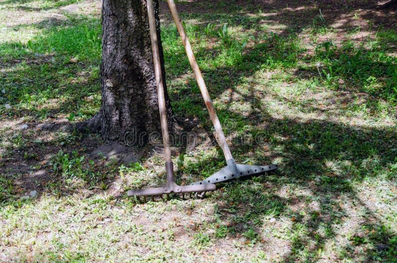 为工作的工具在庭院里 免版税库存图片