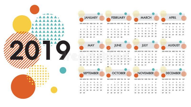 为年2019传染媒介排进日程 十二个月和盖子中的每一在白色的圈子设计五颜六色的纹理被提出 库存例证