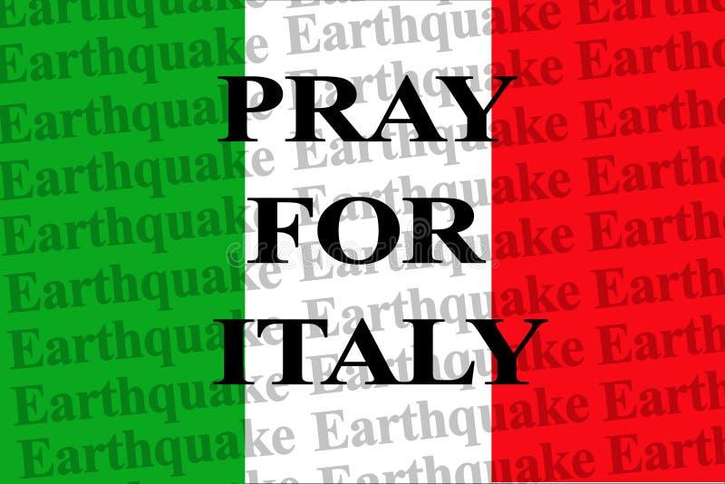 为意大利,在墙纸意大利国旗的文本祈祷 库存照片