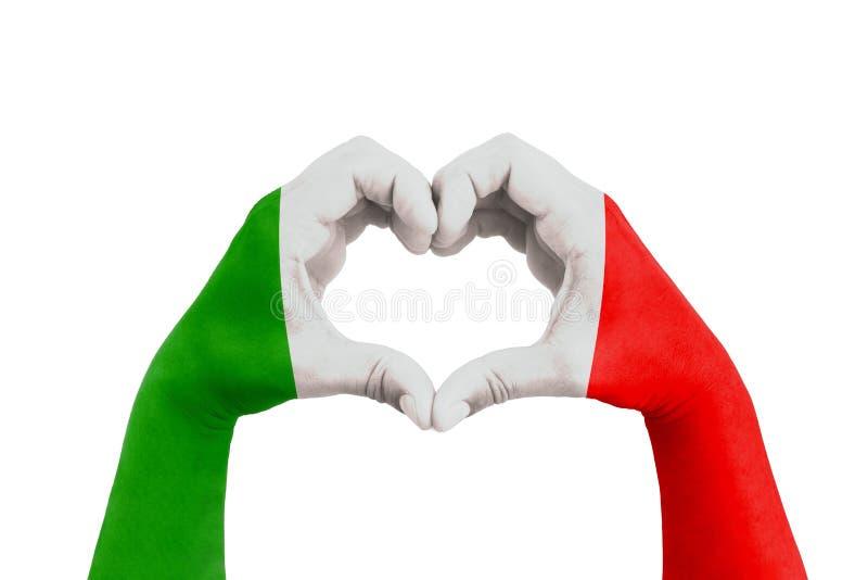 为意大利,以心脏的形式人手祈祷与意大利的旗子白色背景、概念希望的和有用的suppor的 库存照片