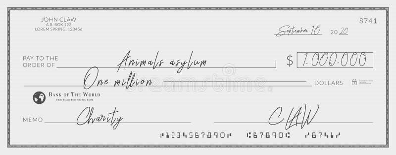 为慈善签字的银行支票 向量例证