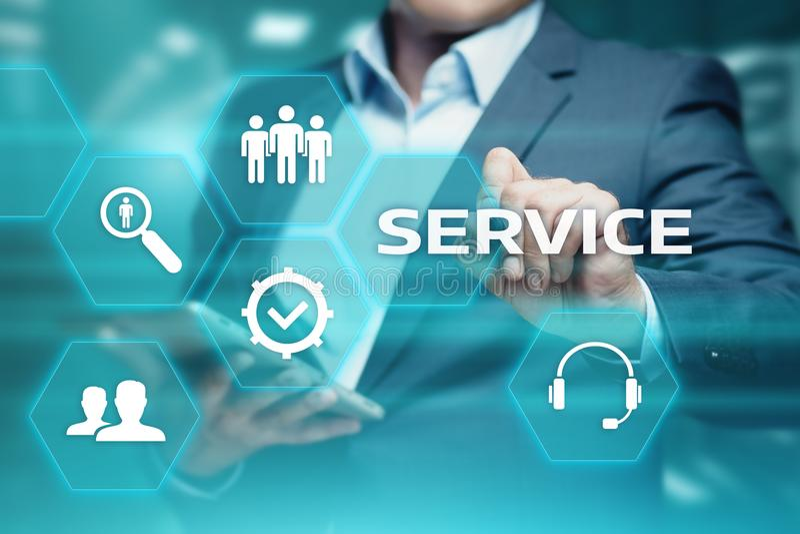 为技术支持解答企业技术互联网概念服务 图库摄影