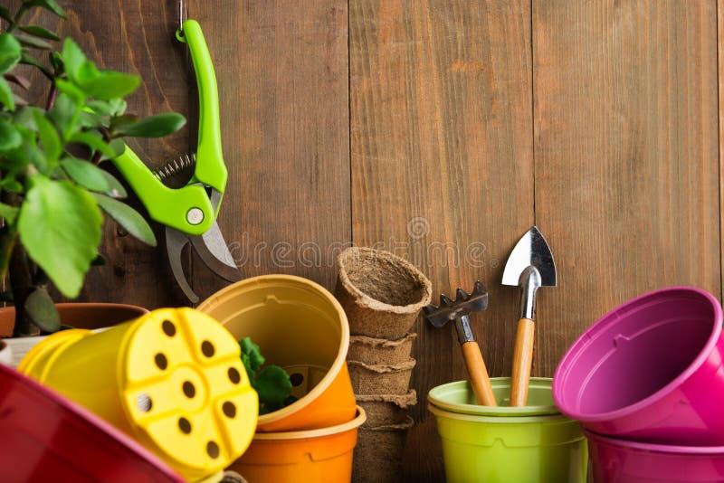 为播种的在棕色木墙壁上的园艺工具和家庭菜园 库存照片