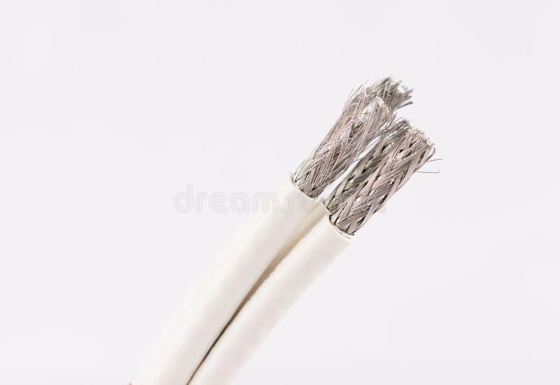 为数字式电视,有线电视,在白色的数据缆绳缚住 库存照片