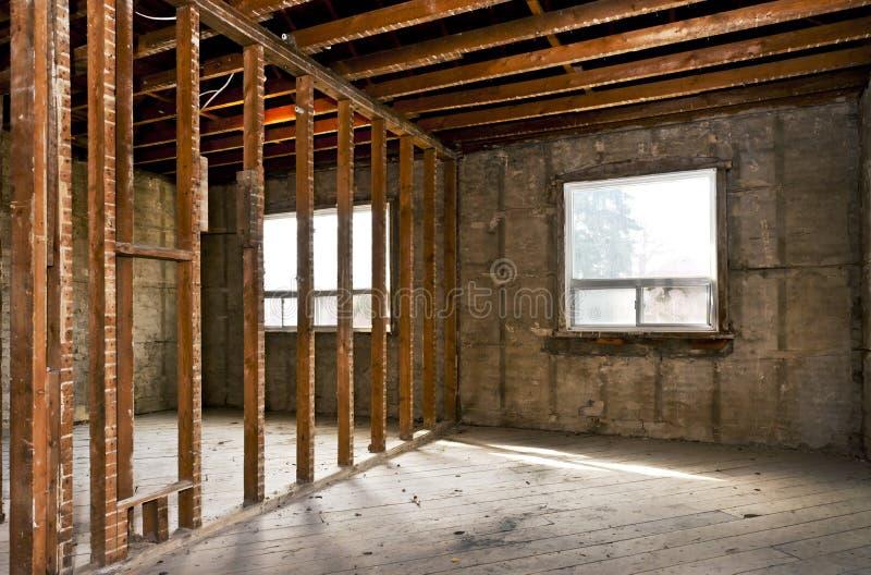 为整修毁坏的家庭内部 免版税库存图片