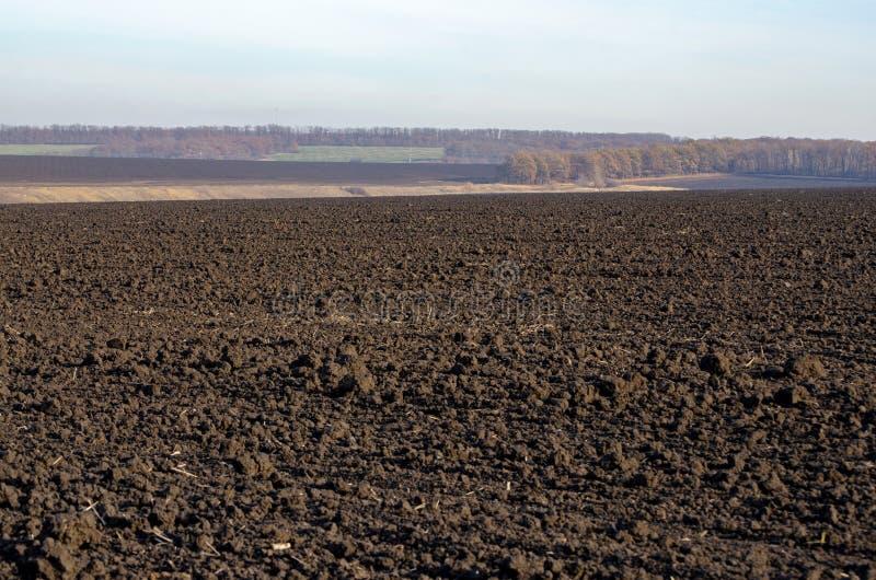 为新的庄稼准备的空的被犁的领域,黑土壤 免版税库存图片